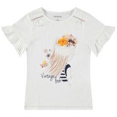 T-shirt manches courtes volantées avec princesse printée et fleur en relief
