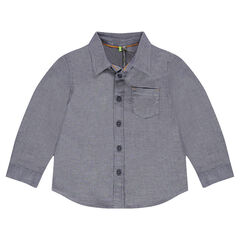Chemise manches longues à micro-chevrons et poche