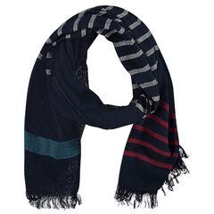 Sjaal met contrasterende strepen en franjes