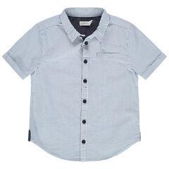 Chemise manches courtes à fines rayures verticales
