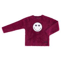 Pull en tricot poil rose avec badge ©Smiley