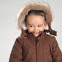 Parka en twill avec doublure en sherpa et capuche amovible