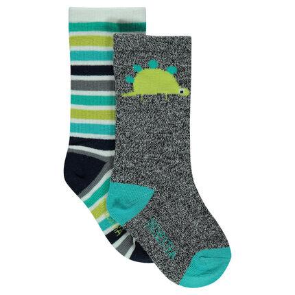 Lot de 2 paires de chaussettes avec dinosaure et rayures en jacquard