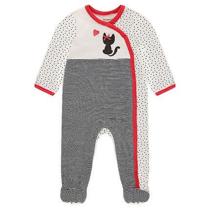 Pyjama van velours met kattenprint en kleine, gesatineerde strik