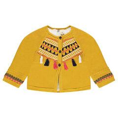 Veste en tricot doublée sherpa avec motifs ethniques et pompons