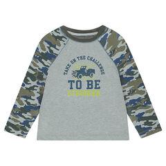 T-shirt met lange mouwen en legerprint aan de voorzijde