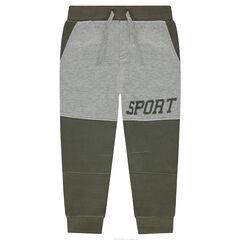 Pantalon de jogging en molleton bicolore avec texte printé