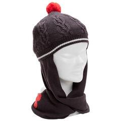 Bonnet écharpe en tricot à pompon et coeur en jacquard
