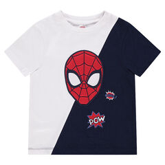 T-shirt met korte mouwen van jerseystof in twee kleuren en met geborduurd hoofd van ©Marvel Spiderman
