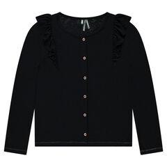 Vest van tricot met volants
