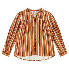 Chemise manches longues à rayures verticales contrastées