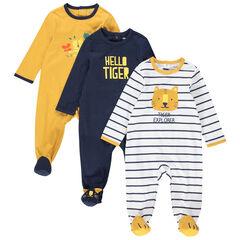 Set met 3 pyjama's van jerseystof met tijgerprint , Orchestra