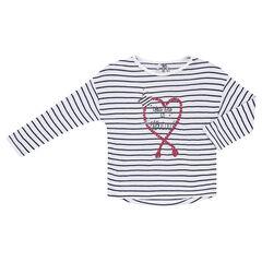 Tee-shirt manches longues style marinière avec print