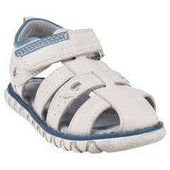Open schoenen in effen leder met klittenbandsluiting