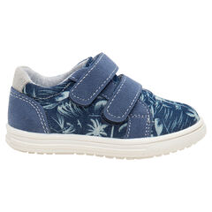 Lage sneakers met klittenbandsluiting en plantmotief