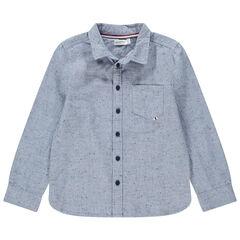 Chemise manches longues en coton neps à poche