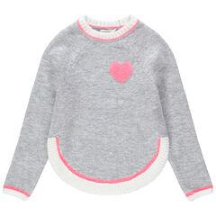 Pull en tricot avec coeur en bouclette et pans arrondis