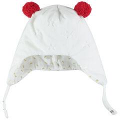 Bonnet péruvien en velours avec pompons sur le dessus