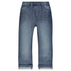 Straight-fit jeans met afgewasen effect en elastische taille.