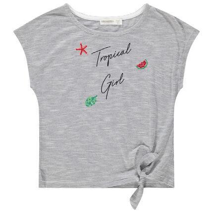 T-shirt met korte mouwen en fijne streepjes met geborduurde motieven
