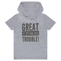Junior - T-shirt met korte mouwen en kap met print met opschrift