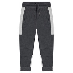 Junior - Pantalon de jogging en molleton bicolore avec découpes