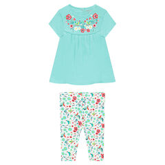 "Ensemble met tuniek met bloemenprint en korte legging met print ""all-over"""