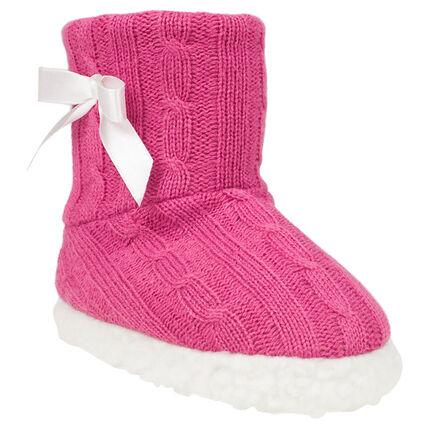 Pantoffels in tricot in satin strik