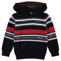 Pull à capuche en tricot avec rayures contrastées