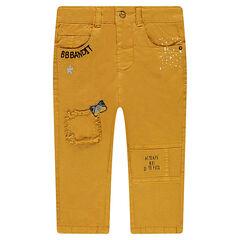 Pantalon en toile fantaisie avec badges et broderies