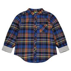 Chemise manches longues à carreaux avec poche