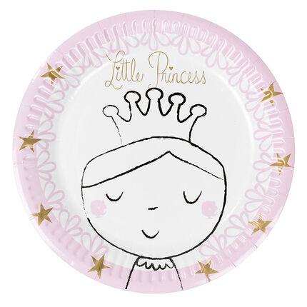 Lot de 10 assiettes en papier motif princesse