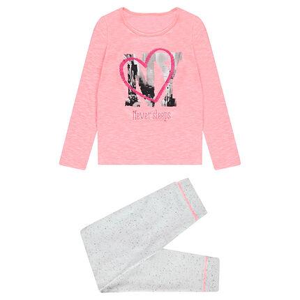 Junior - Pyjama uit jerseystof in twee kleuren met fantasieprint NY