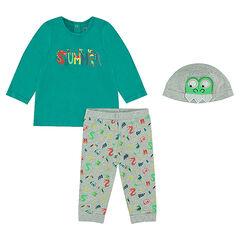 Pyjama en jersey et bonnet assorti avec badge crocodile