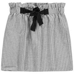 Junior - Rok met elastische, hoge taille met fijne streepjes en knooplintjes