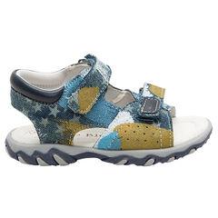 Linnen sandalen met fantasieprint