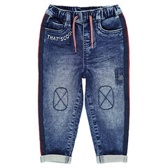 Elastische jeans met used effect en contrasterende banden aan de zijkanten