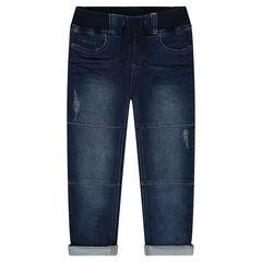 Jeans effet used et crinkle à taille élastiquée