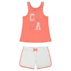 Junior - Pyjama met tanktop met print en short uit effen jerseystof