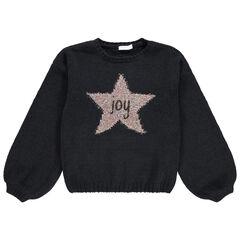 Junior - Pull en tricot à manches ballon avec étoile brillante en jacquard