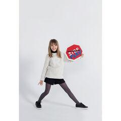 Junior - Pull en tricot pop-corn avec lettre patchée