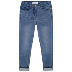 Skinny jeans met used en crinkle effect met goudroze studs