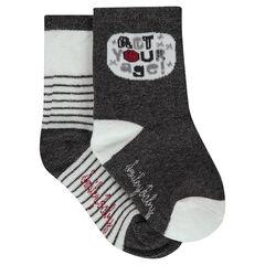 Lot de 2 paires de chaussettes assorties avec rayures / motif bull en jacquard