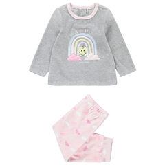 Pyjama van velours in twee kleuren met Smiley-print en wolken van sherpa