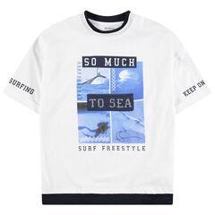 Junior - T-shirt met korte mouwen van jerseystof en print met landschappen en opschriften