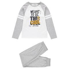 Junior - Pyjama van jerseystof met geprinte boodschap en contrasterende banden