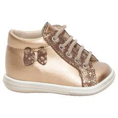 Gouden laarzen uit leder met opgestikte strik