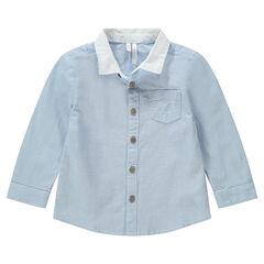 Chemise manches longues bleue à col uni et poche brodée