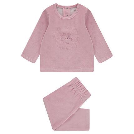 Pyjama van velours met vogelprint