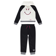 Jogging en molleton bicolore avec détails Smiley en sequins